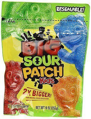 NEW BIG SOUR PATCH KIDS 2X BIGGER 9 OZ RESEALABLE BAG SOFT & CHEWY CANDY SNACK Candy 9 Ounce Bags
