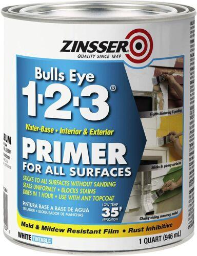 (1 CASE OF 6)Rust-Oleum 2004 Zinsser Bulls Eye 1-2-3 Primer 1 Quart 946 ml White