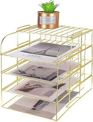 Leoriso Gold Desk Organizer Stackable Paper Holder Rack Set Of 4 Metal Letter