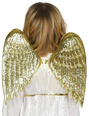 Childs Girls Gold Angel Nativity Christmas Xmas Fancy Dress Costume Outfit Wings