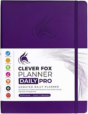Clever Fox Planner Daily Pro - 8.5 X 11 Undated Life Planner Journal Purple