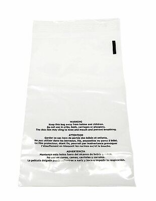 200 12x15 Suffocation Warning Clear Plastic Premium Self Seal Poly Bags 1.5 Mil