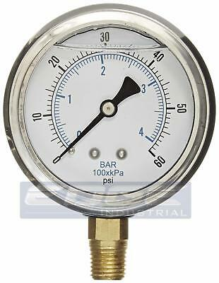 Liquid Glycerin Filled Pressure Gauge Hydraulic 2.5 Face 0-60 Lower 14  Mi
