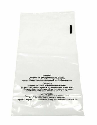 1000 9x12 Suffocation Warning Bags Plastic Clear Premium Self Seal Poly 1.5 Mil