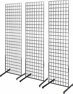 Gridwall Panel Tower With T-base Floorstanding Display Kit 3-pack Black 2x6