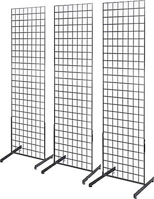 Gridwall Panel Tower with T-Base Floorstanding Display Kit, 3-Pack Black 2