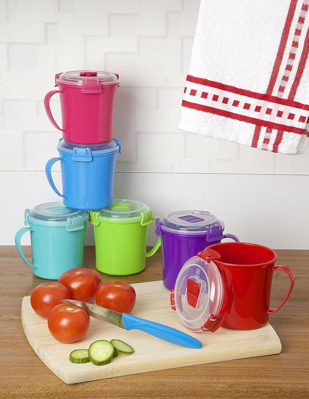 Sistema Microwave Soup Mug 22.1 oz 2.8 Cup Medium BPA Free Microwaveable Food Storage Containers