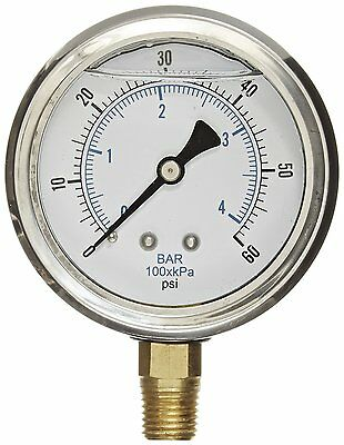 Liquid Filled Pressure Gauge Compressor Lower Mnt 1.5 Face 0-60 18 Npt