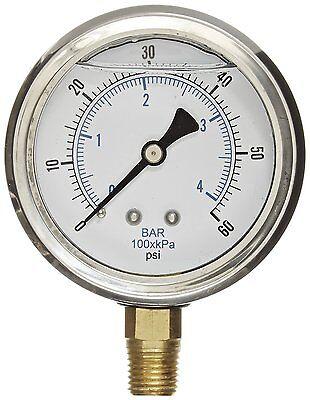 Liquid Filled Pressure Gauge Compressor Lower Mnt 1.5 Face 0-60 18 Npt