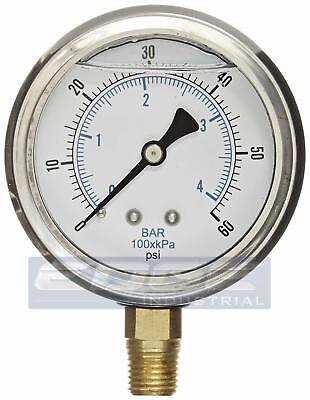 Liquid Filled Pressure Gauge 0-60 Psi 2.5 Face 14 Npt Lower Mount Wog