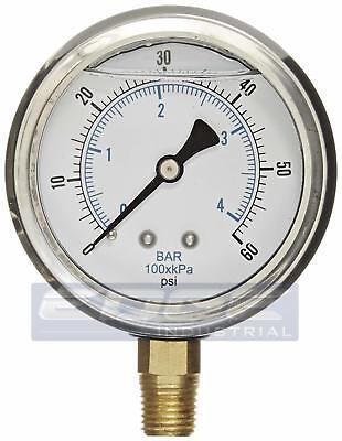 Liquid Filled Pressure Gauge 0-60 Psi 2.5 Face 14 Npt Lower Mount Wog