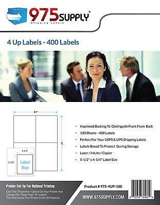 975 Supply Shipping Labels For Inkjetlaser 4up 5.5 X 4.25 400 Labelspack