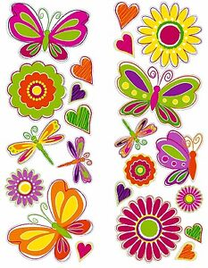 BUTTERFLIES-22-Wall-Decals-Room-Decor-BUTTERFLY-Stickers-FLOWERS-GiRlS-Nursery
