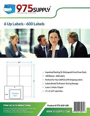 975 Supply Shipping Labels For Inkjetlaser 6up 4 X 3 13 600 Labelspack