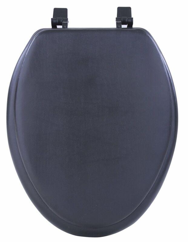 Black Soft Padded Toilet Seat Cushioned Elongated Cover Premium Bathroom Comfort