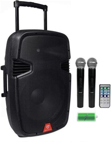 """Rockville 15"""" Portable YouTube Karaoke System w/ Speaker & Wireless Mics"""