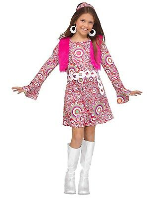 Groovy 60's Mod Hippie Shaggy Chic Child Costume, Pink
