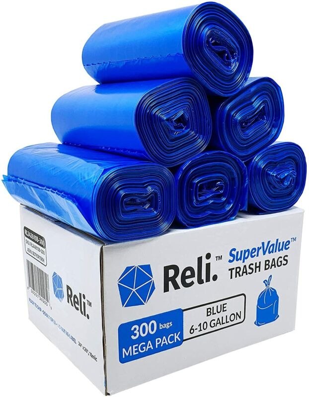 Reli. SuperValue 6-10 Gallon Recycling Bags (300 Count) Blue Trash Bags
