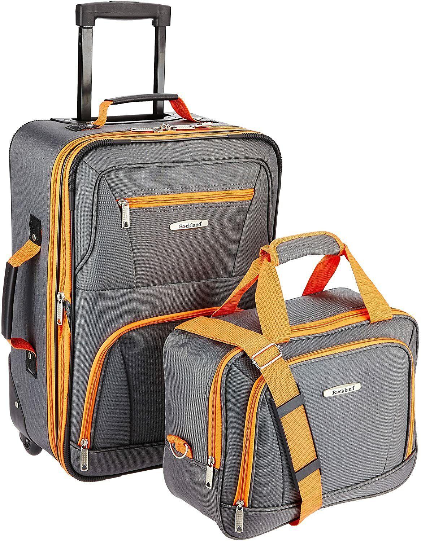 rockland fashion softside upright luggage set purple