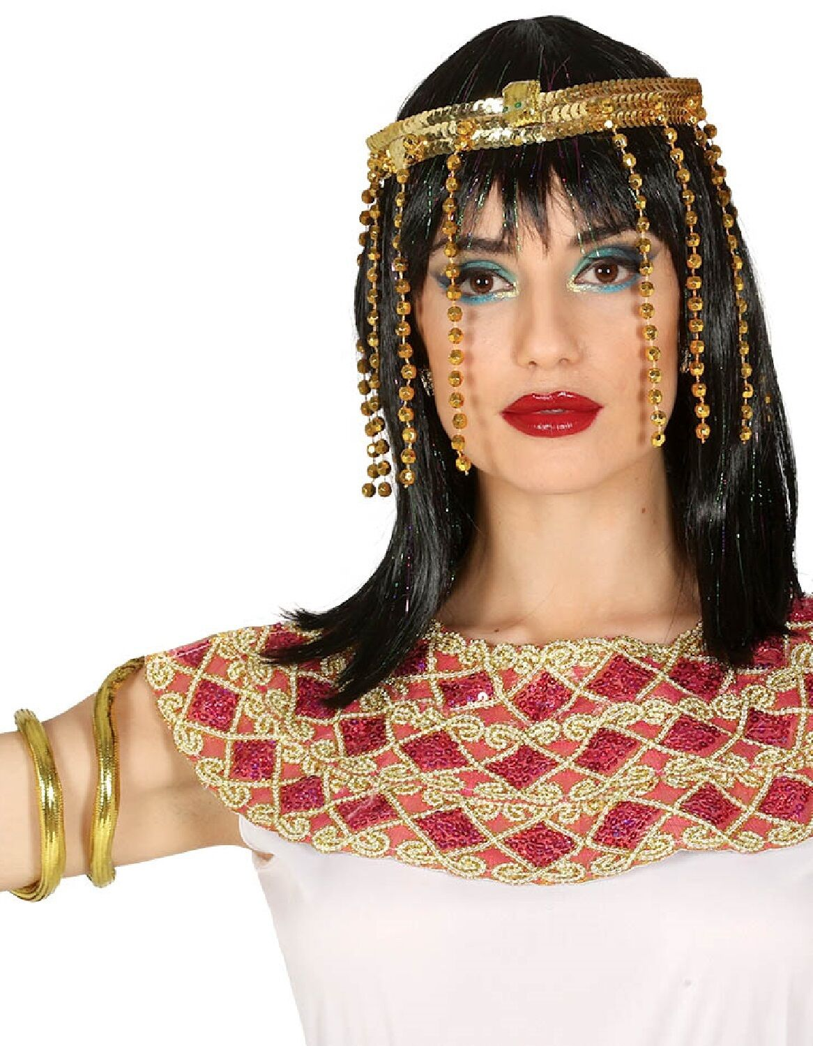 Women Snake Headband Sequined Gold Egyptian Fancy Outfit Accessory