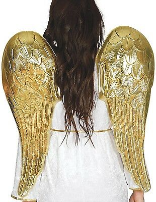 Ladies 80cm Gold Cupid Angel God Halloween Xmas Fancy Dress Costume Outfit Wings](Cupid Halloween Costume)