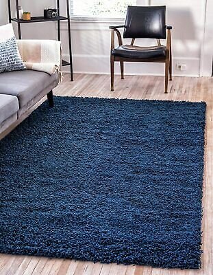 Unique Loom Solo Solid Shag Collection Modern Plush Navy Blu