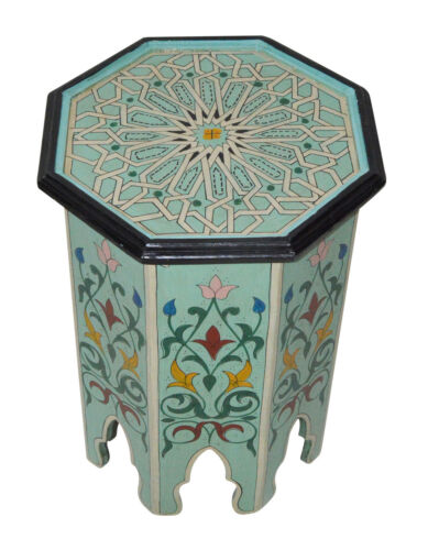 Moroccan Table Wood End Table Coffee Middle East Arabesque Handmade Decor Aqua