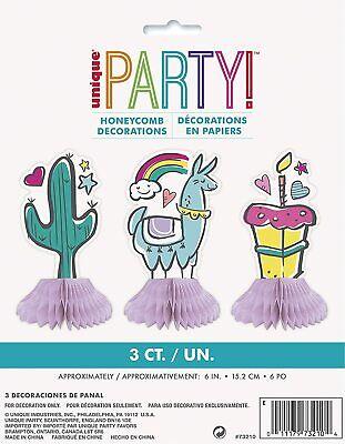 3 Fiesta Cactus Llama Con / Arcoiris Tarta Cumpleaños Panal Decoración Mesa