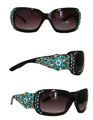 Montana West Ladies Sunglasses Floral Concho UV 400 Turquoise Beads Over (West Sunglasses)