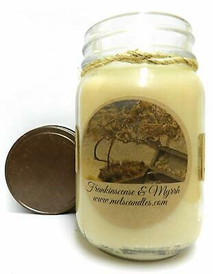 Mels Candles and More Frankincense and Myrrh 16oz All Natural Soy Candle Made wi