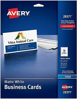Avery Ink-jet Printer White Business Cards Design Print 100 Cards