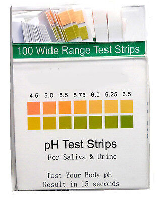 ALKALINE pH DUAL TEST STRIPS URINE and SALIVA ph BODY LEVELS - 100 Strips (#040)