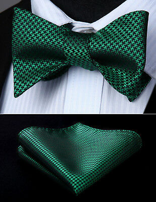 Houndstooth Bow Tie (Green Houndstooth Flower Self Bow Tie Pocket Square Butterfly Silk)
