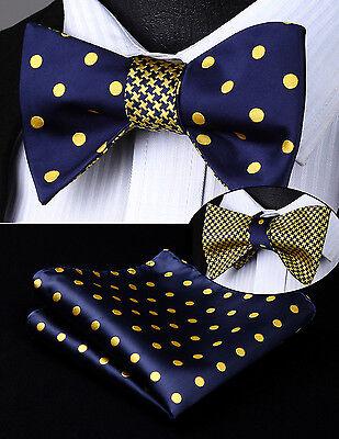 BE04YS Blue Dot Geometric Double Side Bowtie Men Silk Self Bow Tie hanky (Blue Dot Bow Tie)