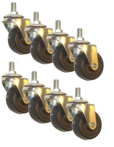 """Lot Of 8 Swivel Stem Caster 2"""" Hard Rubber Wheel 1.1"""" Tall Threaded Stem Length"""