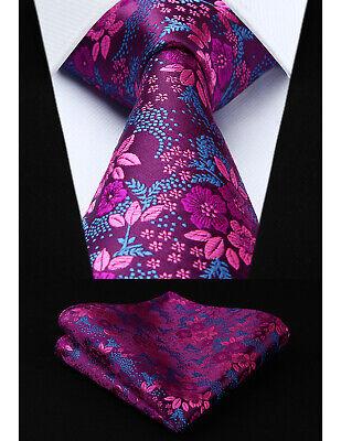Mens Tie Blue Hot Pink Blue Woven Ties Necktie Silk Paisley Floral Ascot Hanky Woven 3 Mens Tie