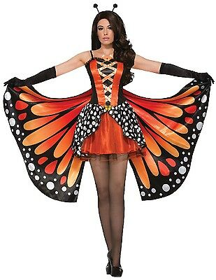 Butterfly Costume Uk (Ladies Monarch Butterfly + Wings Dance Troop Fancy Dress Costume Outfit UK)