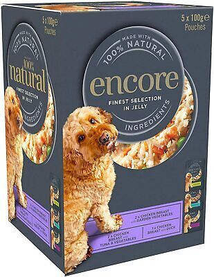 Encore Natural Wet Dog Food Pouches Chicken Selection in Jelly, 5 x 100 Grams