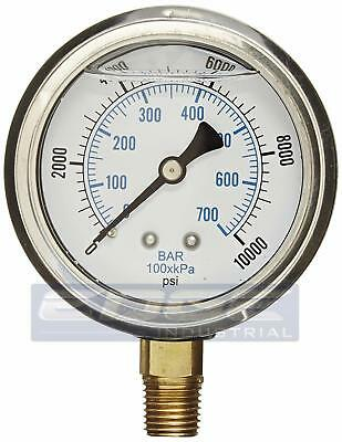 Liquid Filled Pressure Gauge 0-10000 Psi 2.5 Face 14 Npt Lower Mount Wog