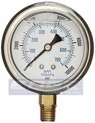 Liquid Filled Pressure Gauge 0-10000 Psi 2.5 Face 14 Npt Lower Mount Wog