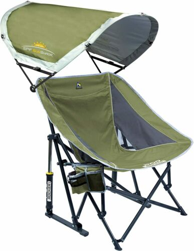 GCI Outdoor Pod Rocker Collapsible Rocking Chair with SunShade, Loden Green