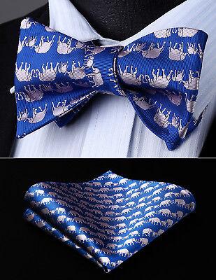 Mens Classic Party Wedding Blue Animal Self Bow Tie Pocket Square Set#BGA15BS