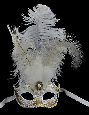 Mask from Venice Colombine in Tip Golden Feathers Braid Diamante Iceland 22505