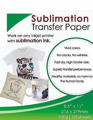 100 Sheets A4 Sublimation Heat Transfer Paper For Inkjet Printer Mug T-shirt