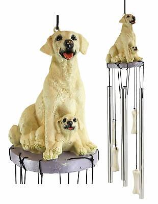 Pedigree Dogs Golden Retriever Dog With Puppy Figurine Top Resonant Wind Chime