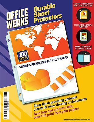 Officewerks Clear Sheet Protectors - 100 Pack Reinforced Holes 8.5 X 11 Inches