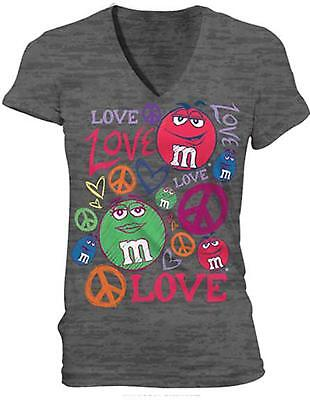 Adult Women's Graphic M&M's Peace Love Candy Coated Shell Chocolate T-Shirt (Adult Chocolate Tee T-shirt)