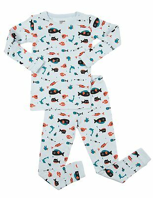Leveret Overall Print Kids & Toddler Pajamas Boys Girls 2 Piece Pjs Set 100%... Pjs Overall