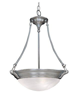 Pewter with Alabaster Glass 3 Light Chandelier/Pendant Alabaster Pewter Chandelier