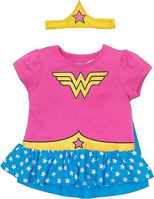 Wonder Woman Toddler Girls' Costume Ruffle Shirt With Cape and Headband - Pink - Pink Wonder Woman